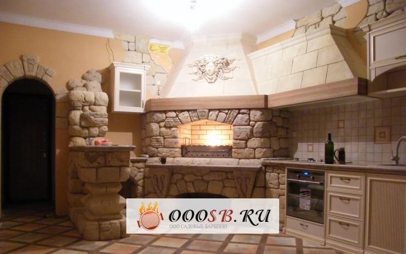 Печка и барбекю на кухне фото дача домик для барбекю
