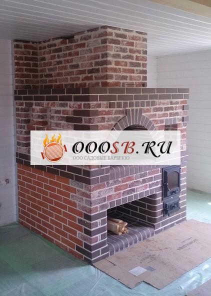 компактная русская печь в деревянном доме