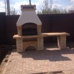 кирпичная готовая уличная печь камин с барбекю и грилем