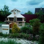 уличная садовая барбекюшница с лавочкой