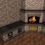 3d проект зоны барбекю с мангалом, казаном, духовкой