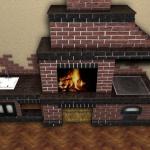 печка барбекю из кирпича в доме