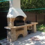 недорогая готовая барбекю печь из бетона с казаном