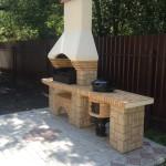готовая барбекю печь из бетона с казаном