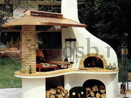 большой элитный барбекю комплек с печью для пиццы