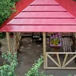 деревянная беседка с металлической крышей