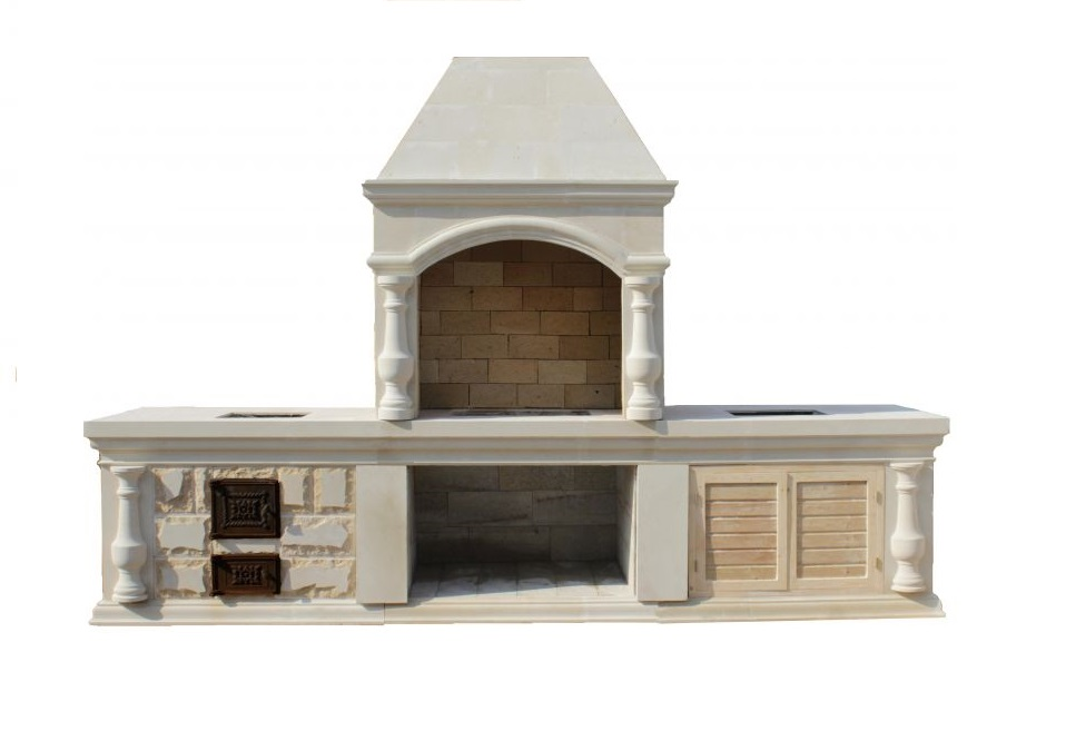 барбекю комплекс с казаном, мангалом и мойкой из камня для беседки