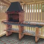 деревянная беседка с барбекю печью из кирпича с мойкой и столешницей