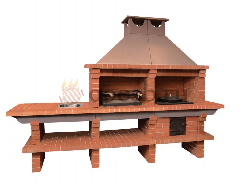 Габаритная печь с мангалом, казаном и мойкой
