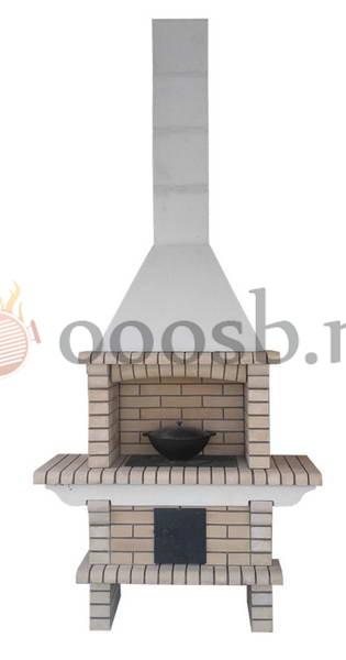 модель барбекю печки из светлого кирпича