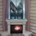 фото установки камина в деревянном доме