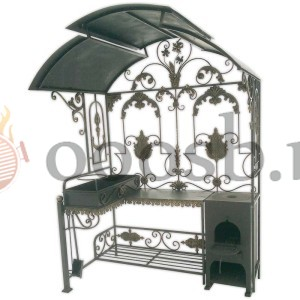 Декоративны кованный мангал с крышей и печкой под казан