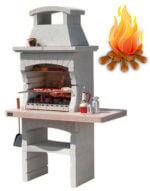 Печь барбекю из камня топится дровами