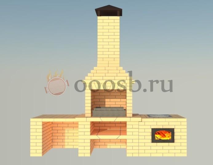 кирпичная барбекю печь с казаном и столешницей