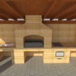 3д проект беседки из кирпича с барбекю печью и мангалом