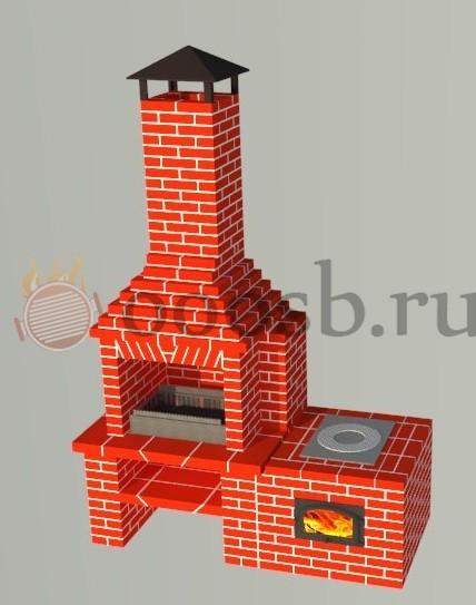 Мангал с дымоходом из кирпича