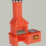 Мангал и печь под казан из красного полнотелого печного кирпича
