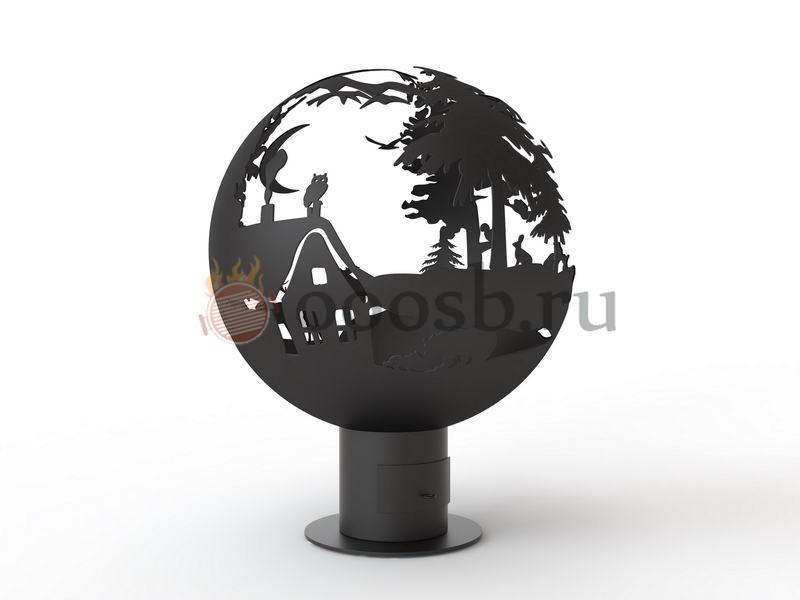 дизайн сферы для огня дом в лесу