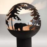 медведь орнамент на сфере для дров