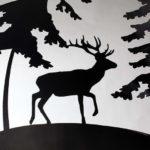 узор лес и олень на сфере для развещения огня
