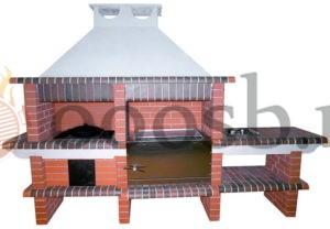 готовая печь барбекю из кирпича с казаном и мангалом