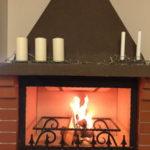 пламя в камине мангале