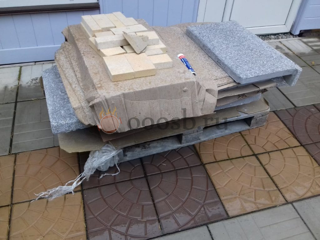 стационарный мангал с печью из кирпича